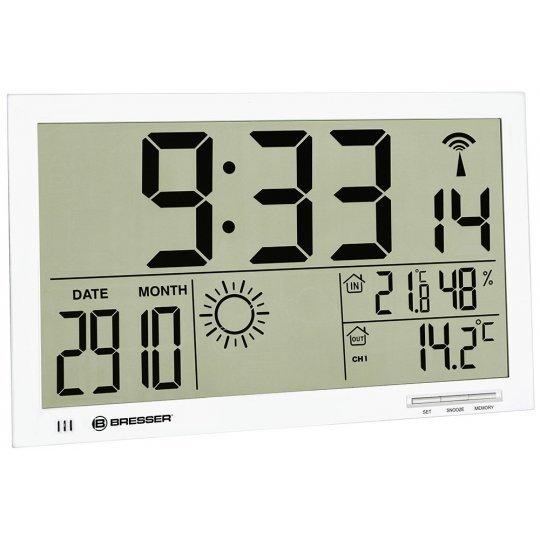Метеостанция (настенные часы) Bresser MyTime Jumbo LCD, белая (+ Салфетки из микрофибры в подарок)