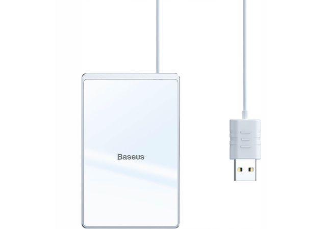 Беспроводная зарядка Baseus Card Ultra-thin Wireless Charger 15W (with USB cable 1m) Silver+White