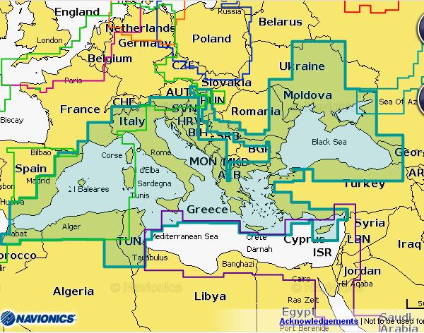 Карта Navionics Plus 43XG Средиземное, Черное и Азовское на карте памяти 8 Гб