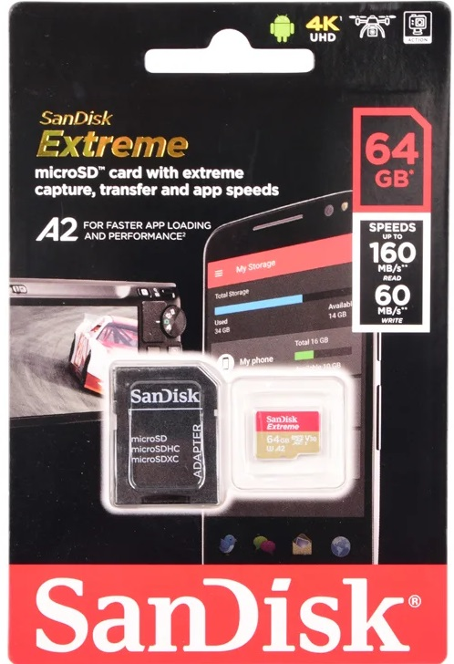 Карта памяти micro SDXC 64Gb SanDisk Extreme U3