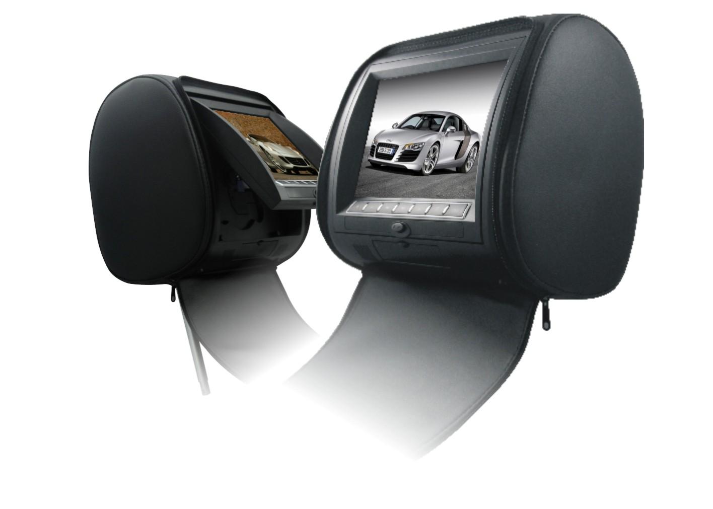 Подголовник с монитором 9 и встроенным DVD плеером FarCar-Z009 (Black) (+ Двухканальные наушники в подарок!)