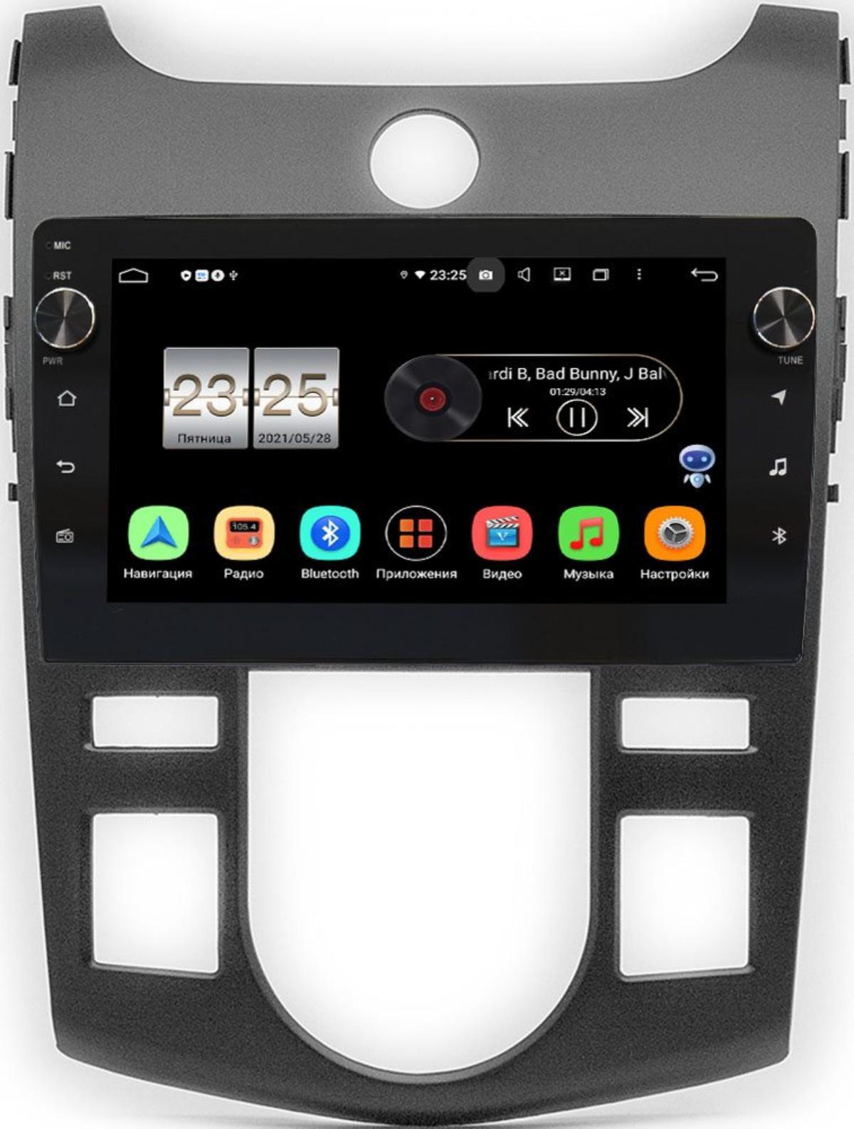 Штатная магнитола Kia Cerato II 2009-2013 (черный) LeTrun BPX409-413 для авто с климатом (тип 1) на Android 10 (4/32, DSP, IPS, с голосовым ассистентом, с крутилками) (+ Камера заднего вида в подарок!)