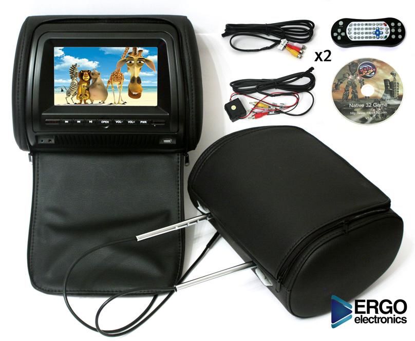 Автомобильный монитор Ergo ER700HD  (+ Двухканальные наушники в подарок!)