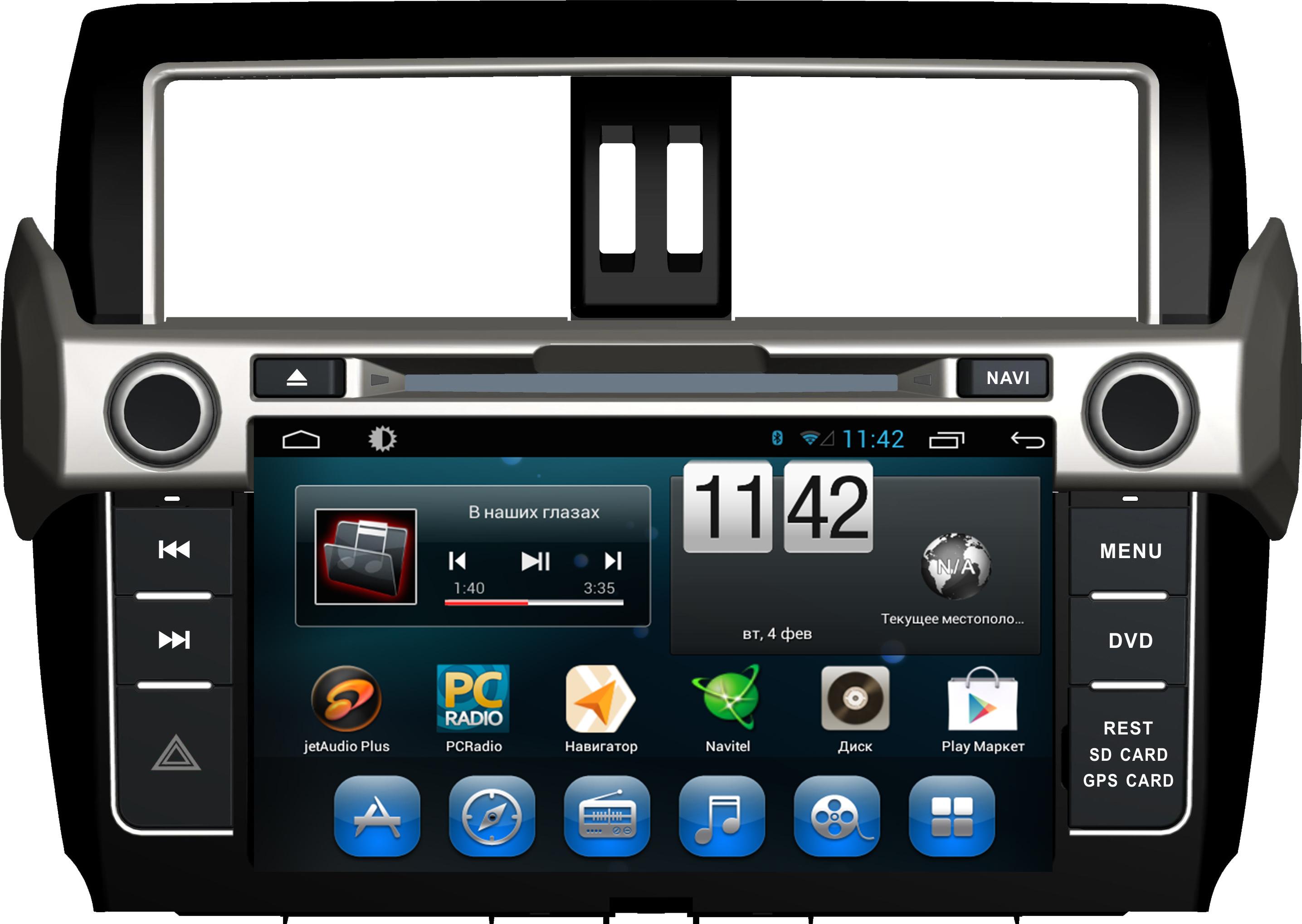 Штатная магнитола CARMEDIA QR-9000-T8 Toyota Land Cruiser Prado 150 2013-2016 (поддержка кругового обзора, усилителя, камеры, бк) на OC Android 7.1.2 / 8.1 штатная магнитола carmedia mkd 1040 dvd toyota land cruiser prado 150 2013 2016 поддержка кругового обзора