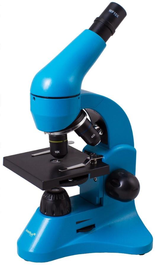 Фото - Микроскоп Levenhuk Rainbow 50L Azure\Лазурь (+ Автомобильные коврики в подарок!) 100 великих научных открытий