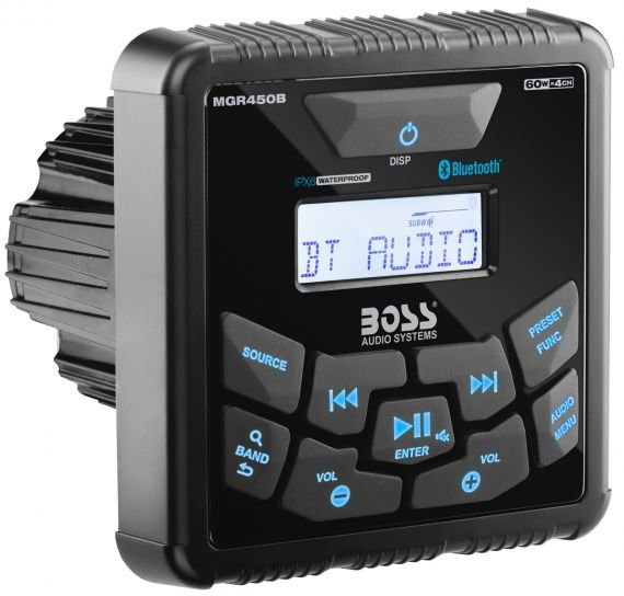 Влагозащищенное головное устройство Boss Audio Marine MGR450B для мотоцикла, квадроцикла, водного транспорта