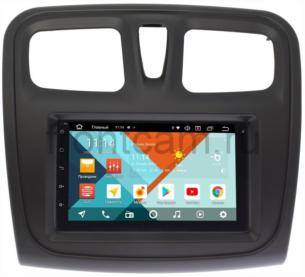 Магнитола в штатное место 2 din Renault Logan II, Sandero II 2013-2020 Wide Media MT7001PK-2/16-RP-RLSS-154 на Android 9.1 (DSP 3G-SIM) (+ Камера заднего вида в подарок!)