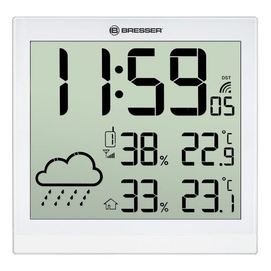 Метеостанция (настенные часы) Bresser TemeoTrend JC LCD с радиоуправлением, белая (+ Салфетки из микрофибры в подарок)
