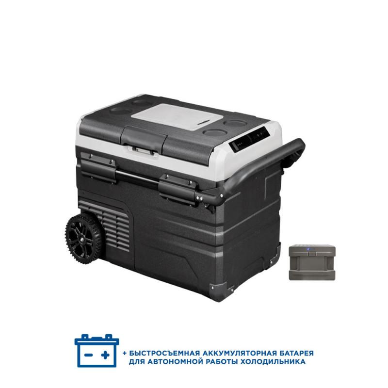 Двухкамерный компрессорный автохолодильник Alpicool ETWW45 с батареей (12/24/110/220) (+ Аккумулятор холода в подарок!)