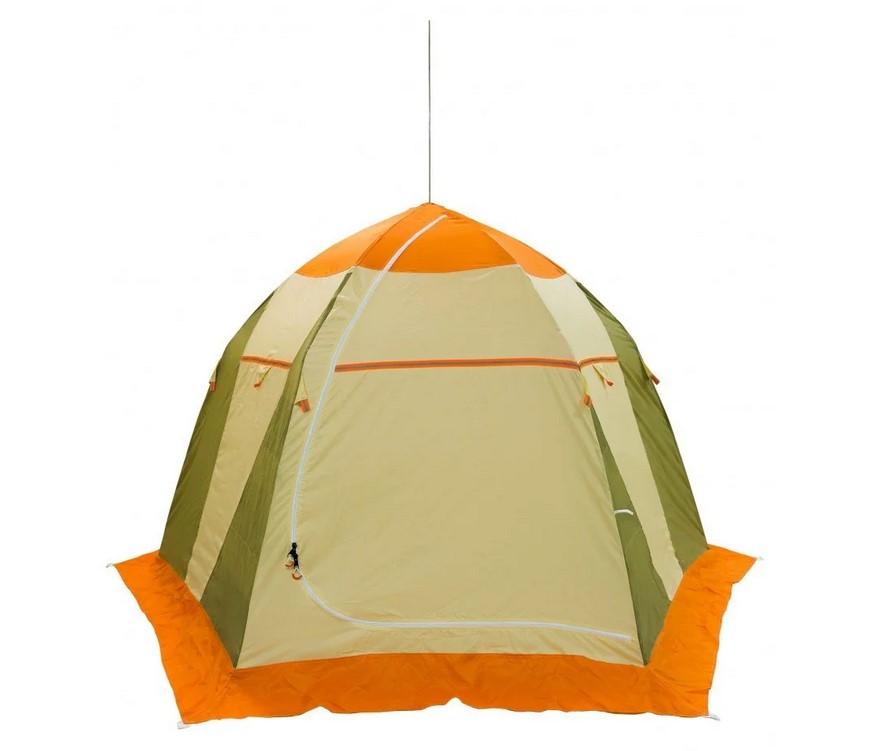 Палатка для зимней рыбалки Митек Нельма-3 (оранжево-бежевый/хаки)