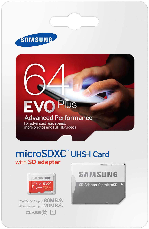 Карта памяти Samsung microSDXC EVO Plus 64Gb UHS-1 20-80MBs цена и фото