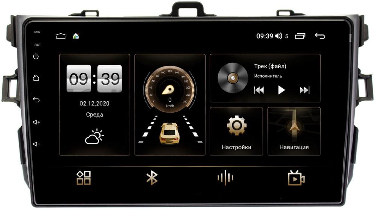 Штатная магнитола Toyota Corolla X 2006-2013 (черная, без воздуховодов) LeTrun 3792-9094 на Android 10 (4/64, DSP, QLed) С оптическим выходом (+ Камера заднего вида в подарок!)