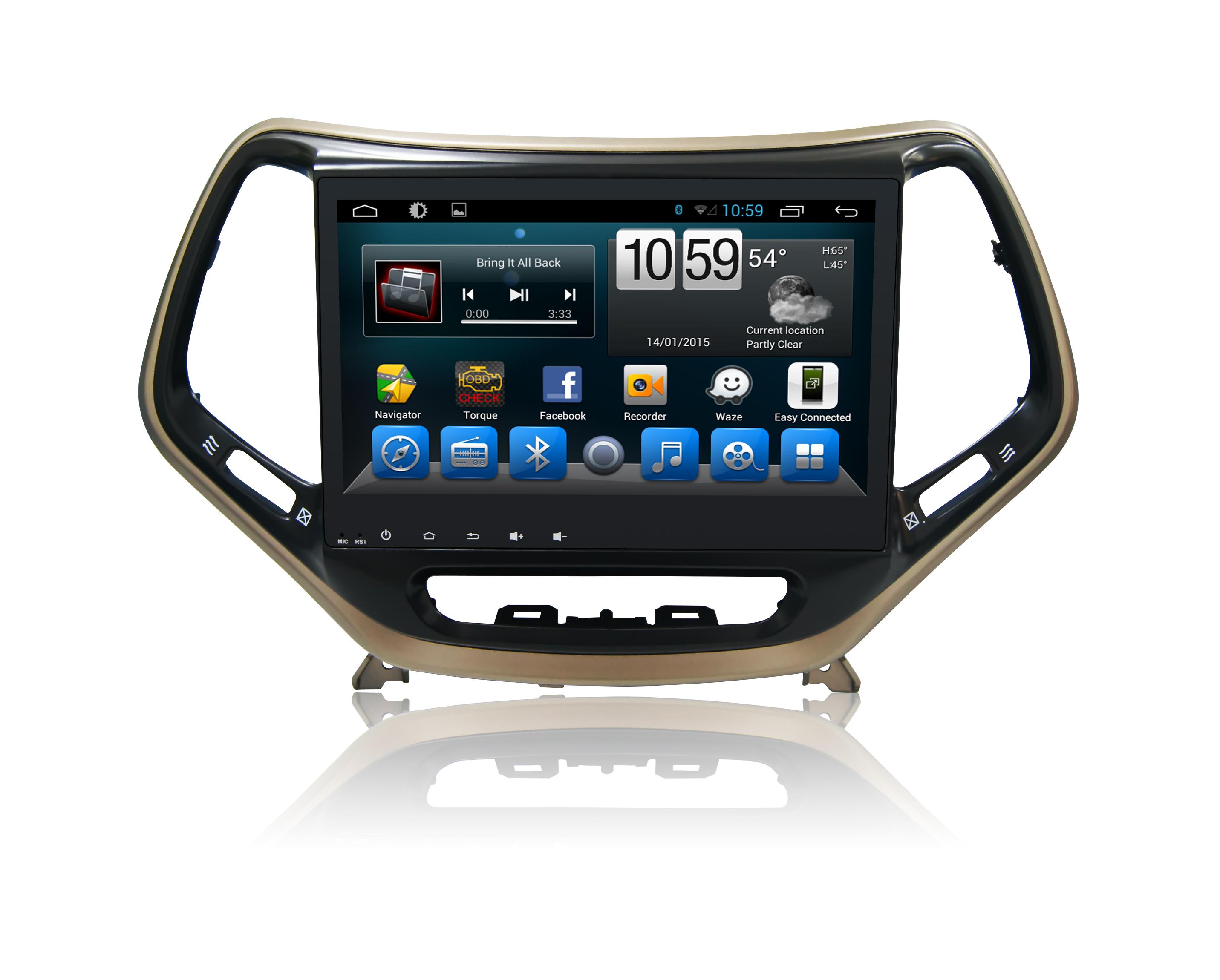 Штатная магнитола CARMEDIA QR-1057-T8 Jeep Cherokee 2014+ на OC Android 7.1.2 (+ камера заднего вида) штатная магнитола carmedia ol 9256 9 tesla style c600 jeep cherokee 2014