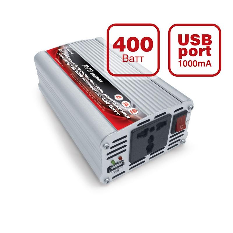 Преобразователь напряжения автомобильный AVS IN-400W (12В > 220В, 400 Вт, USB) автоинвертор powerace pid120 digital display usb с 12в на 220в