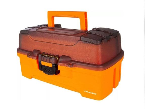 Ящик PLANO 6202 с 2х уровн. системой хранения приманок и двумя боковыми отсеками на крышке, цвет ярко-оранжевый
