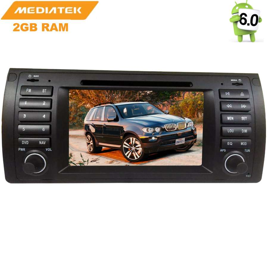 Штатная магнитола LeTrun 1475 для BMW 3 X5 E39 E53 Android 6.0.1 MTK 7060b 7 inch 12v auto 2 din bluetooth tft screen car audio stereo mp3 mp4 mp5 player support aux fm usb sd mmc