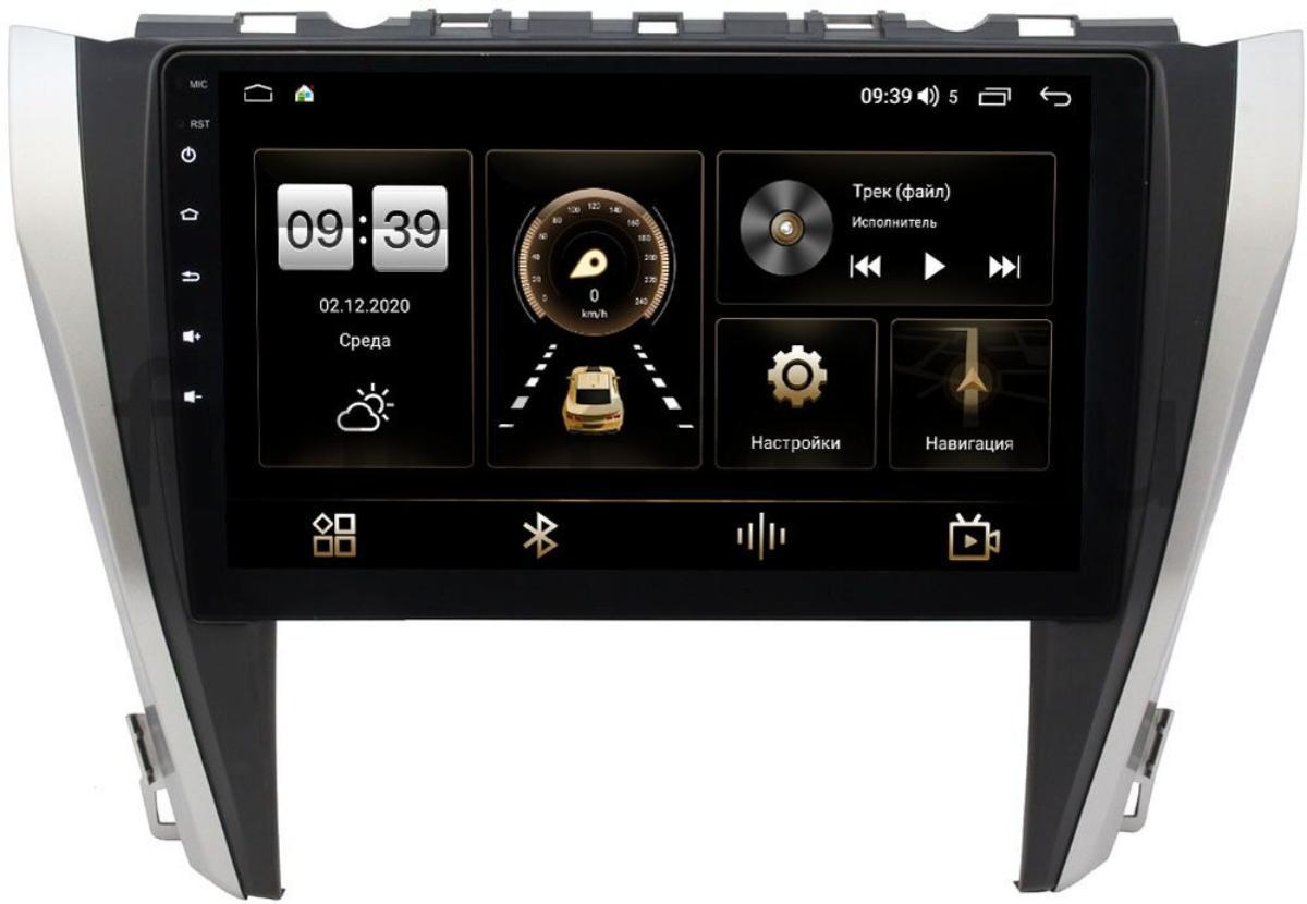 Штатная магнитола LeTrun 4165-1027 для Toyota Camry V55 2014-2018 на Android 10 (4G-SIM, 3/32, DSP, QLed) (для авто с камерой, JBL) (+ Камера заднего вида в подарок!)