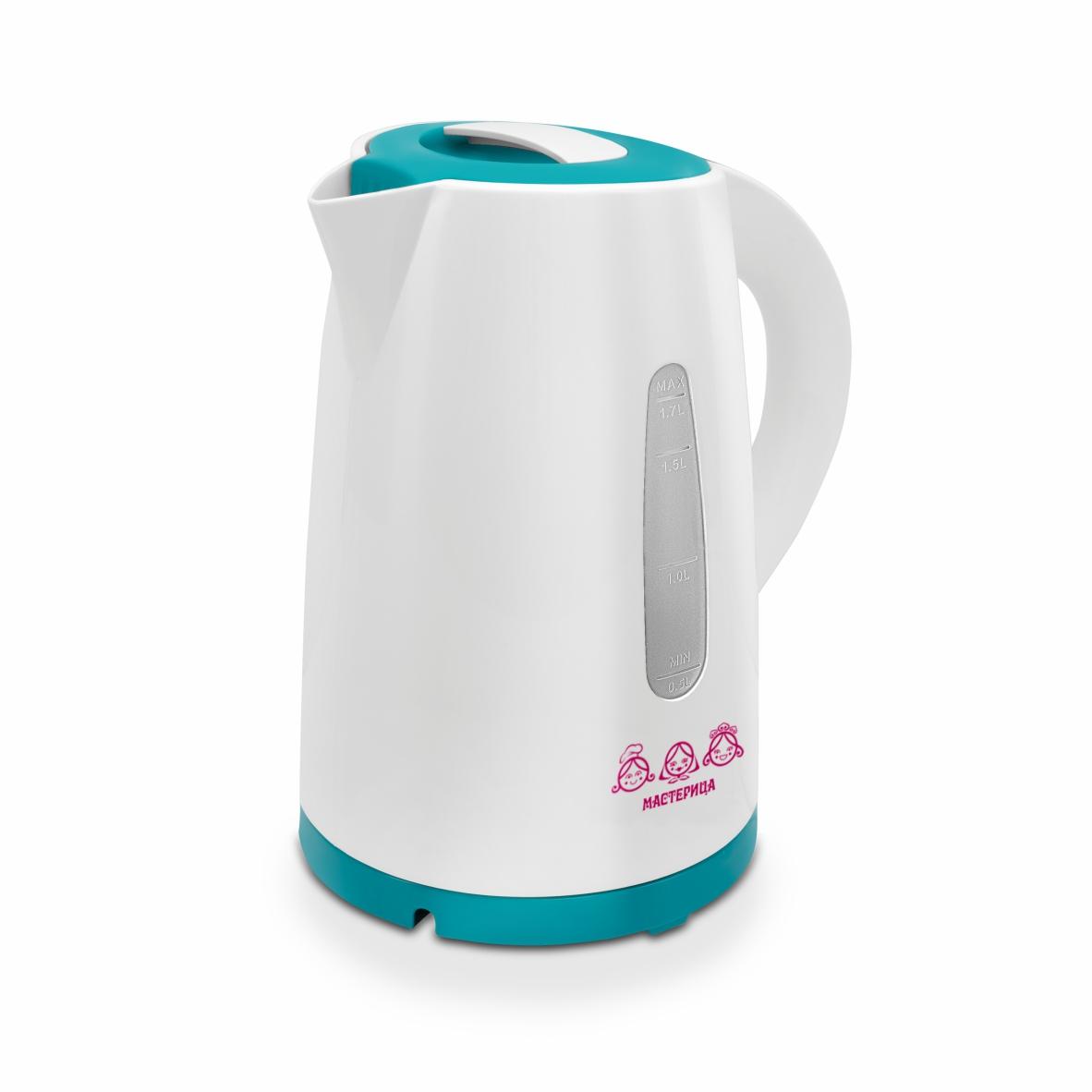 Чайник электрический Мастерица ЕК-1701M белый/бирюзовый, 1,7 л, пластик, 1850 Вт