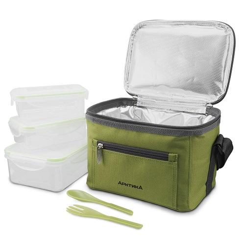 Термосумка АРКТИКА зел. с набором контейнеров для еды термосумки арктика термосумка с набором для пикника на 6 персон 22 л