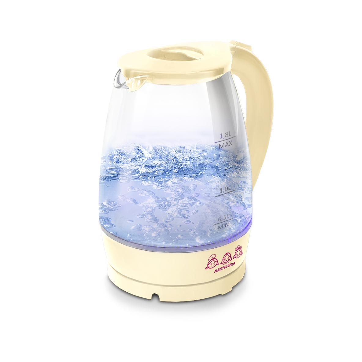 Чайник электрический Мастерица ЕК-1801G, ваниль, 1,8л, стекло, 1850 Вт