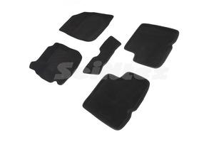 Ворсовые 3D коврики в салон Seintex для Nissan Terrano III 2016-н.в. (черные)