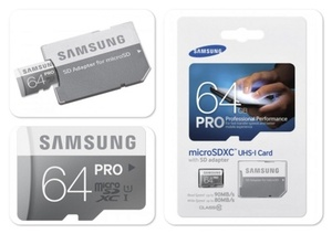 Карта памяти Samsung microSDXC PRO 64Gb U3 90-80MBs