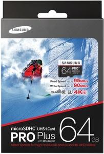 Карта памяти Samsung microSDHC PRO+ 64Gb U3 95-90MBs