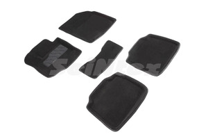 Ворсовые 3D коврики в салон Seintex для Suzuki SX4 II 2013-н.в. (черные)