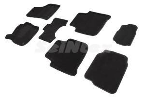 Ворсовые 3D коврики в салон Seintex для Skoda Kodiaq 7 мест 2016-н.в. (черные)