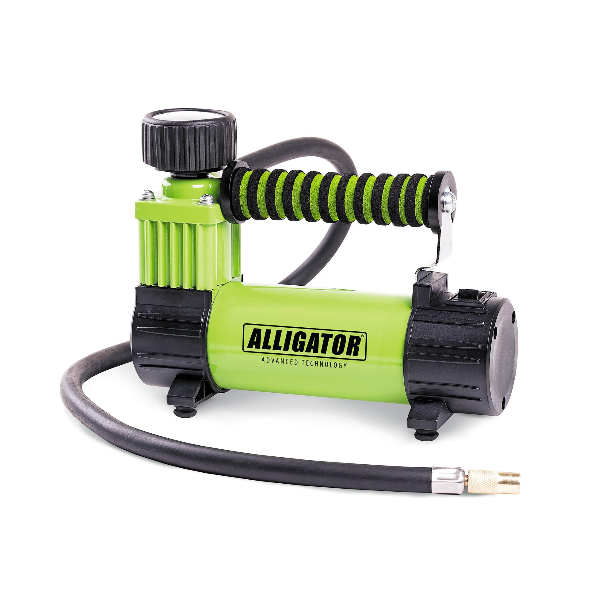 Компрессор автомобильный Аллигатор AL-300ZAlligator<br>Alligator AL-300Z. Экономно - но достаточно!<br><br>Производительность и широкое применение!<br>Автокомпрессор может быть использован для накачивания различных надувных изделий.<br><br>АЛЛИГАТОР выполнен в металлическом корпусе, имеет оригинальную спонжевую рукоятку.<br>Мощность 100Вт, производительность 26 л/мин., максимальное давление 10 АТМ. <br>Переходники для накачивания надувных изделий, сумка для хранения.<br>Длина кабеля питания - 3м. Длина шланга 70 сантиметров.<br>Время непрерывной работы 30 минут. Питание осуществляется от бортовой сети 12В.<br>